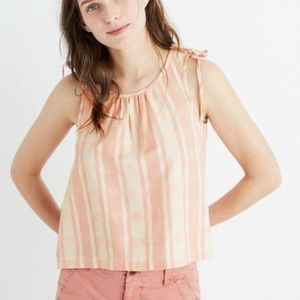Madewell tank top pink plaid crop swing XL